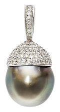 Estate Jewelry:Pendants and Lockets, South Sea Cultured Pearl, Diamond, White Gold Pendant. ...