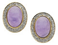 Estate Jewelry:Earrings, Lavender Jade, Diamond, Gold Earrings. ...