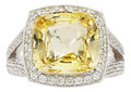 Estate Jewelry:Rings, Yellow Sapphire, Diamond, White Gold Ring. ...