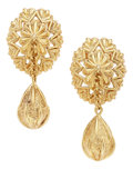 Estate Jewelry:Earrings, Retro Gold Earrings. ...