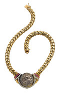 Estate Jewelry:Necklaces, Ancient Coin, Diamond, Ruby, Gold Necklace. ...
