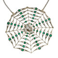 Estate Jewelry:Pendants and Lockets, Diamond, Emerald, Silver-Topped Gold Pendant-Brooch-Necklace. ...