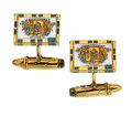 Estate Jewelry:Cufflinks, Enamel, Gold Cuff Links, Asprey. ...
