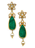 Estate Jewelry:Earrings, Diamond, Emerald, Cultured Pearl, Enamel, Gold Earrings. ...