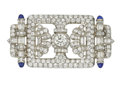 Estate Jewelry:Brooches - Pins, Art Deco Diamond, Sapphire, Platinum Brooch. ...