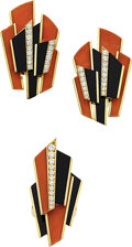 Estate Jewelry:Suites, Diamond, Coral, Black Onyx, Gold Jewelry Suite, French. ...