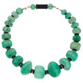Estate Jewelry:Necklaces, Green Beryl, Black Onyx, Diamond, White Gold Necklace. ...