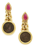 Estate Jewelry:Earrings, Ruby, Ancient Coin, Gold Earrings, Bvlgari. ...
