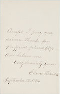Military & Patriotic:Civil War, Clara Barton: Autographed Note Signed....