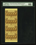 Fractional Currency:First Issue, Fr. 1280 25¢ First Issue PMG Gem Uncirculated 66 EPQ Vertical Stripof Four.. ...