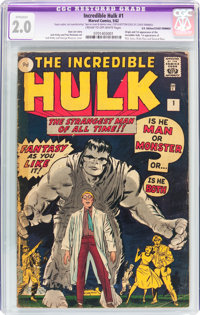The Incredible Hulk #1 UK Edition (Marvel, 1962) CGC Apparent GD 2.0 Cream to off-white pages