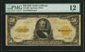Large Size:Gold Certificates, Fr. 1200 $50 1922 Gold Certificate PMG Fine 12.. ...