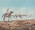 Western Expansion:Cowboy, Thomas Morman Western Painting....
