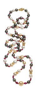 Estate Jewelry:Necklaces, South Sea Cultured Pearl, Diamond, Ruby, Gold Necklace. ...