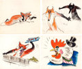 Animation Art:Concept Art, Chicken Little Character Design Art Group of 8 (Walt Disney,1943).... (Total: 8 Original Art)