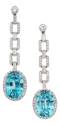 Estate Jewelry:Earrings, Blue Zircon, Diamond, Platinum Earrings. ...