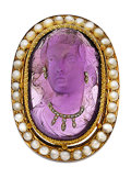 Estate Jewelry:Brooches - Pins, Victorian Amethyst Cameo, Half-Pearl, Diamond, Gold Brooch. ...