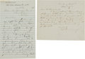 Military & Patriotic:Civil War, . Christopher G. Memminger: Two Autographed Letters Signed.... (Total: 2 Items)