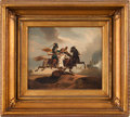 Military & Patriotic:Foreign Wars, Cavaliers Engaged in Combat: Oil on Canvas....