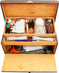 Wooden Case with Assorted Cleaning Tools