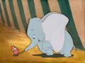 Animation Art:Production Cel, Dumbo Timothy Mouse and Dumbo Production Cel and MasterBackground Courvoisier Setup (Walt Disney, 1941)....