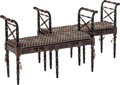 Furniture : Continental, A Pair of Regency-Style Upholstered and Japanned Wooden WindowBenches, mid-late 20th century. 29 inches high x 42-1/2 inche...(Total: 2 Items)