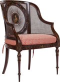 Furniture , A Regency Adam-Style Cane and Painted Oak Armchair, circa 1820. 37-1/2 inches high x 25-1/4 inches wide x 19-1/2 inches deep...