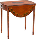 Furniture : English, A George III Painted Satinwood Pembroke Table, circa 1780. 28 inches high x 36-3/4 inches wide x 27-1/2 inches deep (71.1 x ...