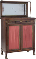 Furniture , A Regency Rosewood Chiffonier with Brass Inlay, circa 1825. 54-3/4 inches high x 31-1/2 inches wide x 17 inches deep (139.1 ... (Total: 2 Items)
