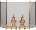 Decorative Arts, French:Other , A Pair of Louis XVI-Style Gilt Bronze Chenets and Firescreen, 19thcentury in part. 32-1/2 inches high x 53 inches wide (82....(Total: 3 Items)