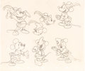 animation art:Model Sheet, Mickey Mouse The Brave Little Tailor Original Model SheetArt Group of 4 (Walt Disney, 1938).... (Total: 4 Original Art)