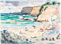 Animation Art:Production Drawing, Lee Blair - Surfers on a California Beach Painting (1979)....