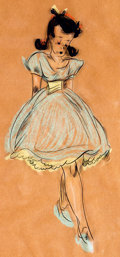 Animation Art:Production Drawing, Fred Moore - Freddy Girl Hand-Inked Cel with Pastel Painted Background (1930-40s)....