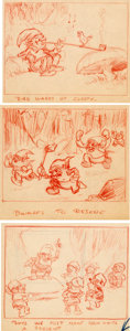 Animation Art:Production Drawing, Snow White and the Seven Dwarfs Storyboard Drawings Group of 3 (Walt Disney, 1937)....