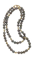 Estate Jewelry:Necklaces, South Sea Cultured Pearl, Moonstone, Gold Necklace. ...