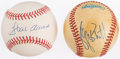 Autographs:Baseballs, George Brett and Hank Aaron Single Signed Baseballs (2)....