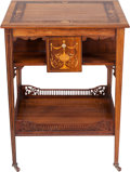 Furniture , An Edwardian Arts & Crafts Mahogany and Marquetry Side Table, circa 1895. 27 inches high x 21 inches wide x 20-1/2 inches de...