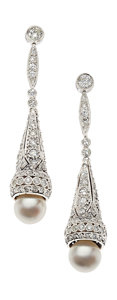 Estate Jewelry:Earrings, Diamond, Cultured Pearl, Platinum Earrings. ...