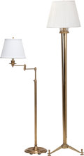 Decorative Arts, Continental:Lamps & Lighting, Two Brass Floor Lamps, 20th century. 64-1/2 inches high (163.8 cm)(taller) . PROPERTY FROM A DISTINGUISHED NEW YORK COLLE... (Total:2 Items)