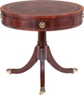 Furniture , A Councill Mahogany and Brass Lawrence Drum Table with Inset Leather Top, circa 2000. 26-1/4 inches high x 28 in...