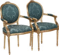 Furniture : French, A Pair of Louis XIV-Style Giltwood Fauteuils, 20th century. 38-1/2inches high x 23 inches wide x 20 inches deep (97.8 x 58....(Total: 2 Items)