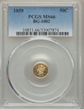 California Fractional Gold , 1859 50C Liberty Round 50 Cents, BG-1002, High R.4, MS66 PCGS....