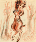 "Animation Art:Concept Art, Fantasia ""Pastoral Symphony"" Female Faun Concept Art (WaltDisney, 1940)...."