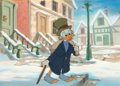 Animation Art:Production Cel, Mickey's Christmas Carol Uncle Scrooge Production Cel onMaster Background Setup with Signed Carl Barks Christmas Card...(Total: 3 Items)