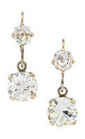 Estate Jewelry:Earrings, Antique Diamond, Gold Earrings. ...