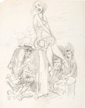 Original Comic Art:Sketches, Jack Davis Girl on Piano Gag Sketch Original Art (undated)....