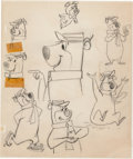 Animation Art:Production Drawing, Yogi Bear, Boo Boo Bear, Huckleberry Hound, and Snagglepuss ModelSheet Drawings Group of 3 (Hanna-Barbera, 1960/61).... (Total: 3Original Art)