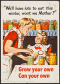 "Movie Posters:War, World War II Propaganda (U.S. Government Printing Office, 1943).OWL Poster NO. 57 (16"" X 22.5"") ""Grow Your Own."" War.. ..."