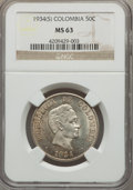 Colombia, Colombia: Republic 50 Centavos 1934(S) MS63 NGC,...