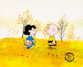 Animation Art:Production Cel, Peanuts A Charlie Brown Thanksgiving Charlie and LucyProduction Cel Setup with Animation Drawings (Bill Melendez,...